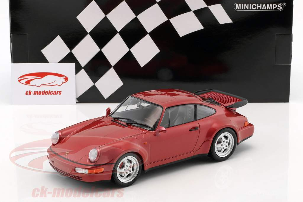 Porsche 911 (964) Turbo anno di costruzione 1990 rosso metallico 1:18 Minichamps