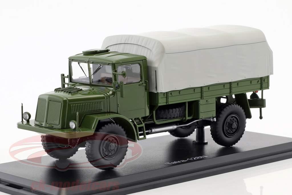 Tatra 128N vrachtwagen met dekkleed Bouwjaar 1951 olijf / grijs 1:43 Premium ClassiXXs