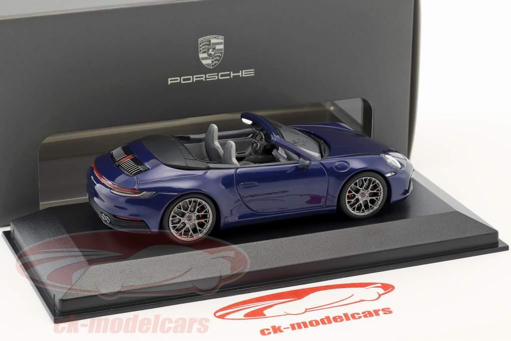 Porsche 911 (992) Carrera 4S Cabriolet Opførselsår 2019 ensian blå 1:43 Minichamps