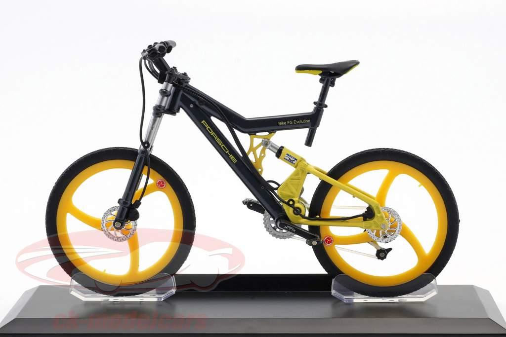 Fiets Porsche Bike FS Evolution grijs / geel 1:10 Welly