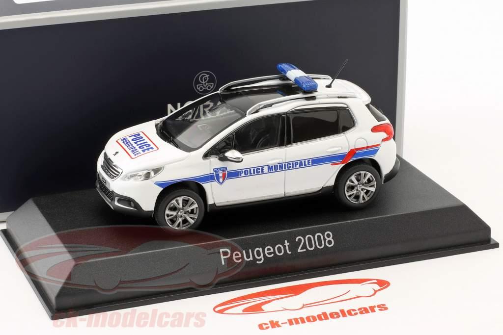 Peugeot 2008 ano de construção 2013 Police Municipale branco / azul 1:43 Norev