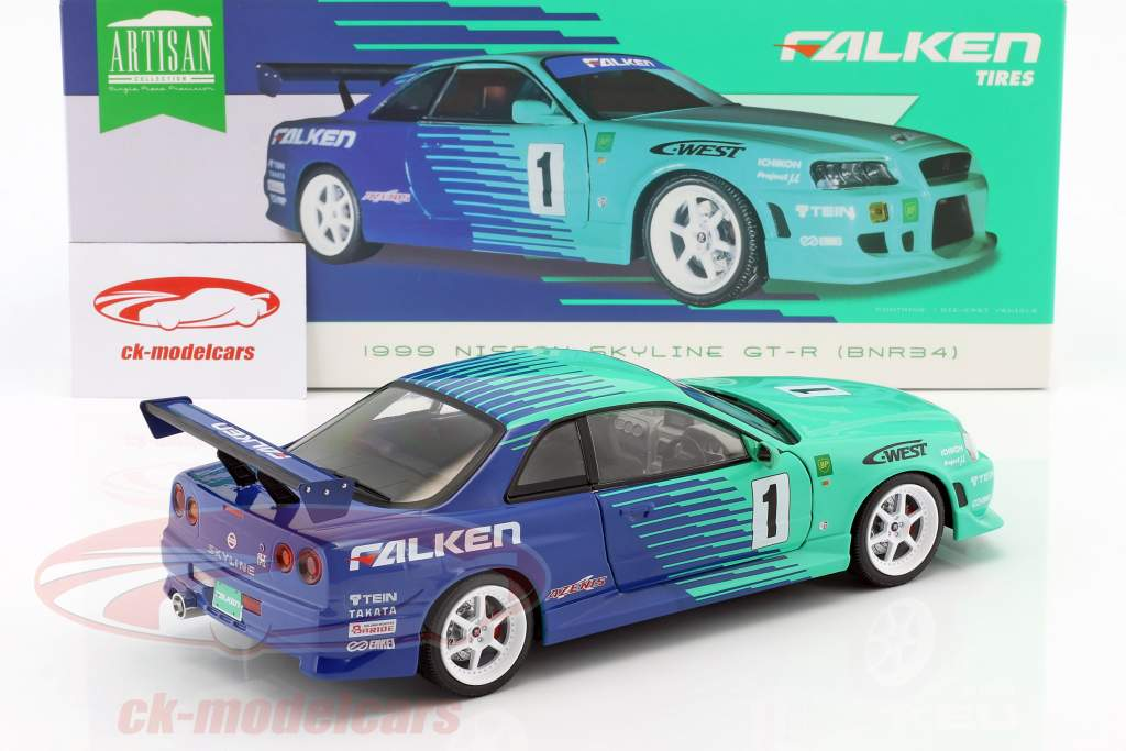 Nissan Skyline GT-R #1 Falken Tires anno di costruzione 1999 verde / blu 1:18 Greenlight