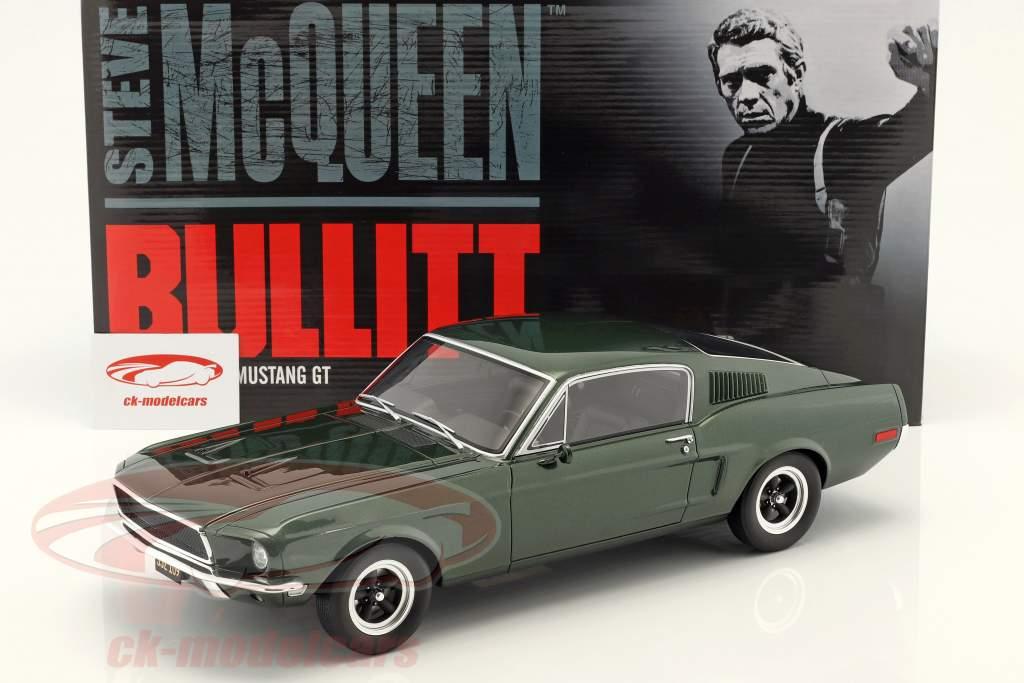 Ford Mustang GT Steve McQueen Movie Bullitt (1968) dark green 1:12 GT-Spirit