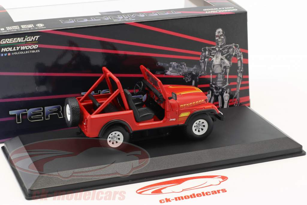 Sarah Conner's Jeep CJ-7 ano de construção 1983 filme Terminator (1984) vermelho 1:43 Greenlight