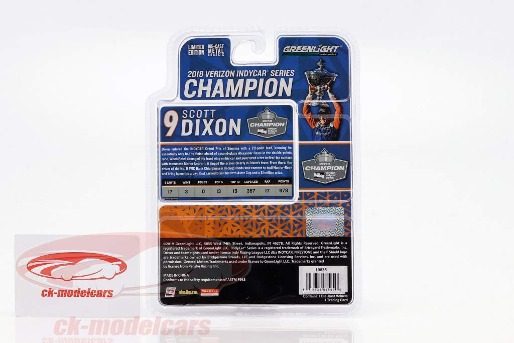 Scott Dixon Honda #9 campione Indycar Series 2018 1:64 Greenlight
