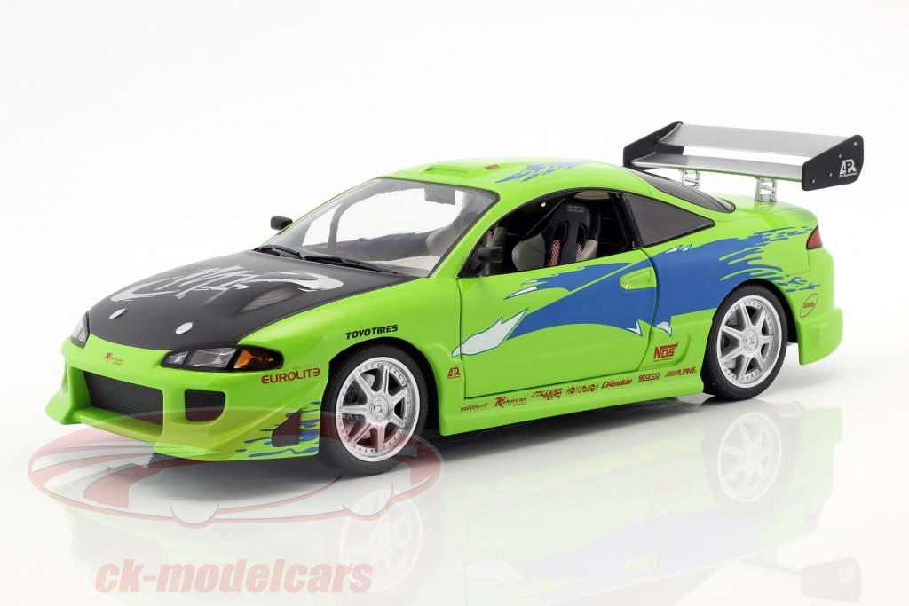 Brian's Mitsubishi Eclipse ano de construção 1995 filme Fast and Furious (2001) verde 1:18 Greenlight