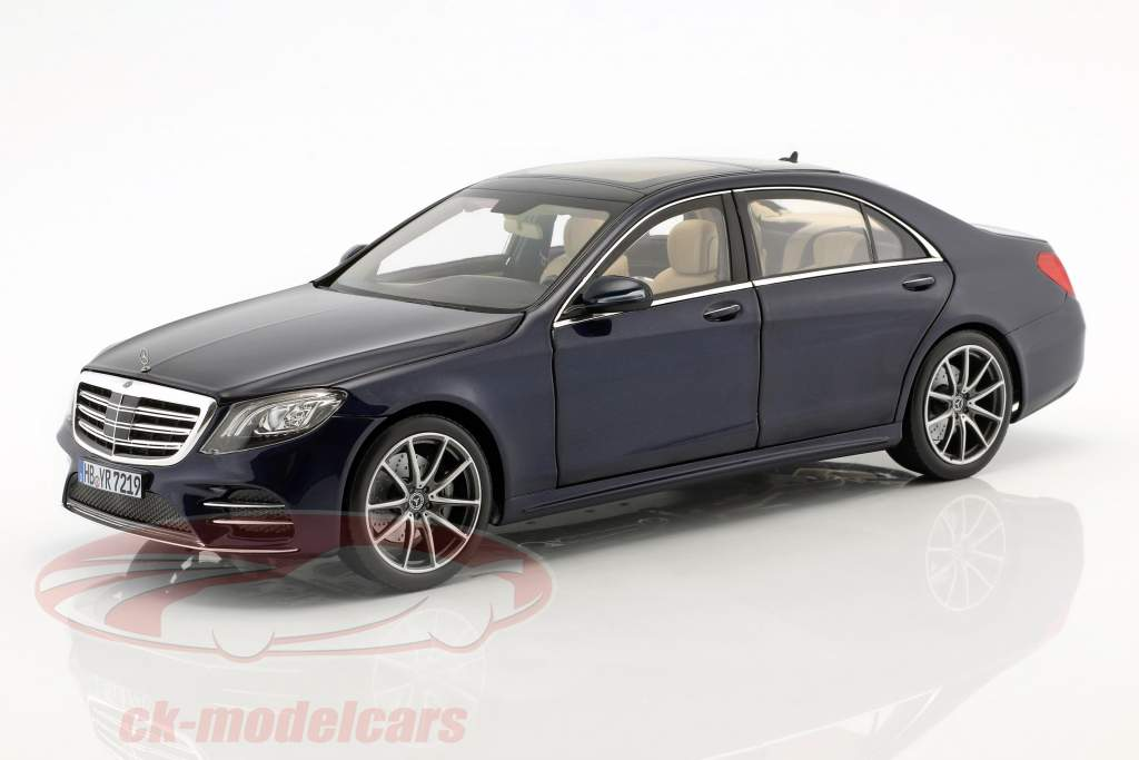 Mercedes-Benz S-Klasse AMG-Line Bouwjaar 2018 donkerblauw metalen 1:18 Norev