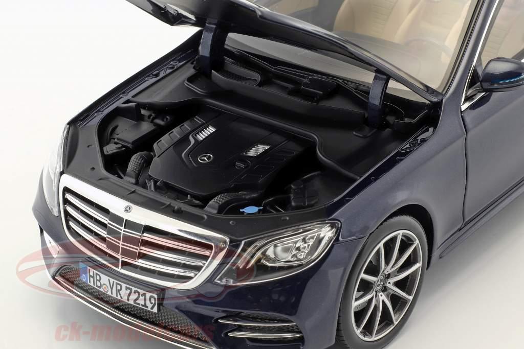 Mercedes-Benz S-classe AMG-Line ano de construção 2018 azul escuro metálico 1:18 Norev