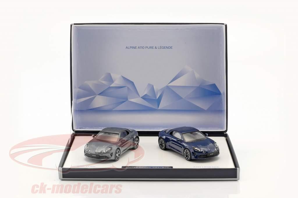 2-Car Set Alpine A110 Pure & Legende año de construcción 2018 1:43 Norev