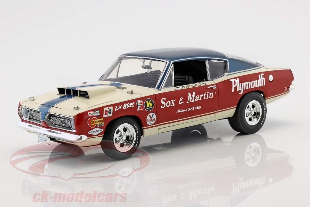 Plymouth Barracuda Sox & Martin año de construcción 1968 rojo / blanco / azul 1:18 Geenlight