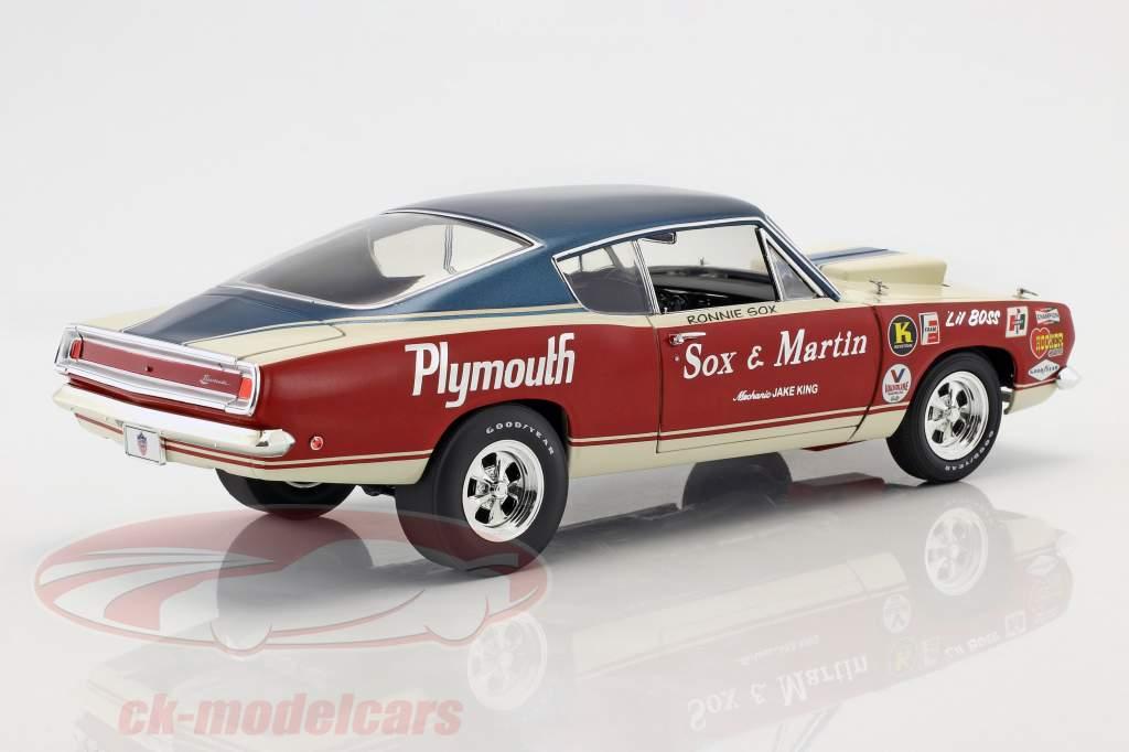 Plymouth Barracuda Sox & Martin Bouwjaar 1968 rood / wit / blauw 1:18 Geenlight