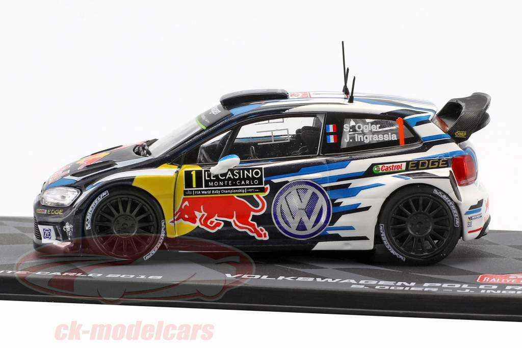 Volkswagen VW Polo R WRC #1 vencedor Rallye Monte Carlo 2016 Ogier, Ingrassia 1:43 Altaya