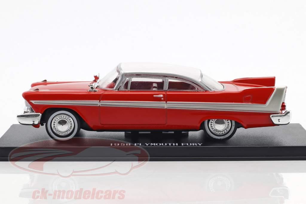 Plymouth Fury año de construcción 1958 película Christine (1983) rojo / blanco / plata 1:43 Greenlight