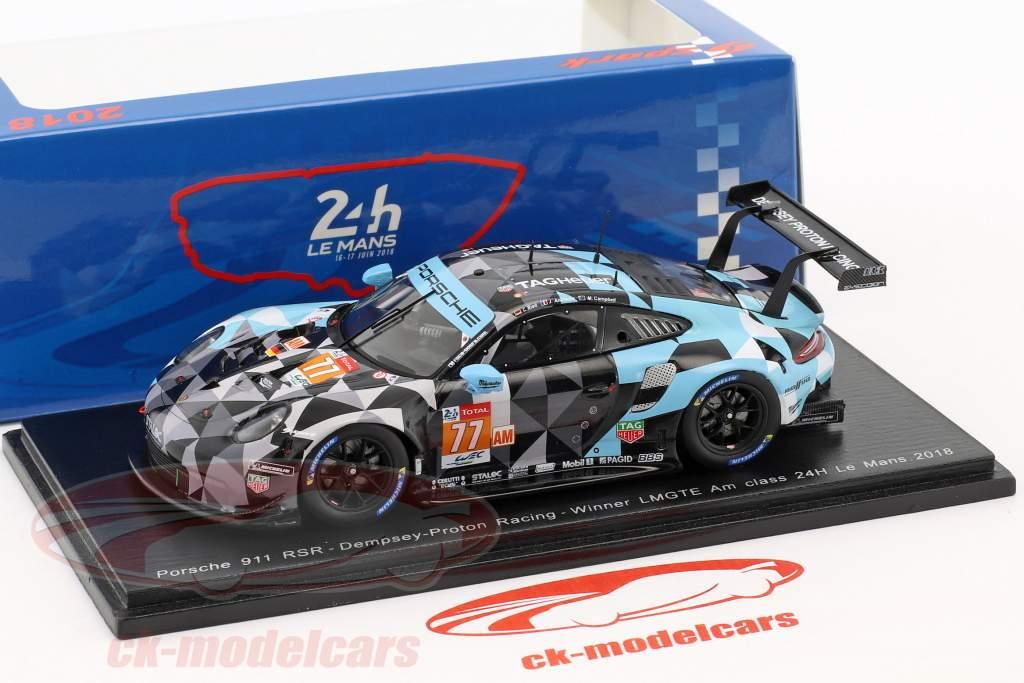 Porsche 911 RSR #77 classe vencedor LMGTE Am 24h LeMans 2018 1:43 Spark