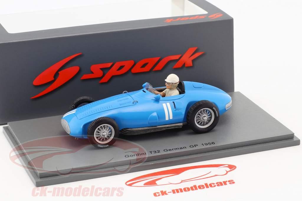 Andre Milhoux Gordini Type 32 #11 Tyskland GP formel 1 1956 1:43 Spark