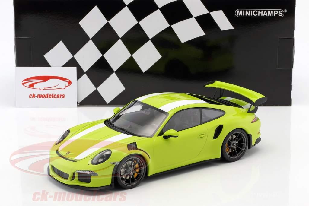 Porsche 911 (991) GT3 RS year 2015 light green / White 1:18 Minichamps