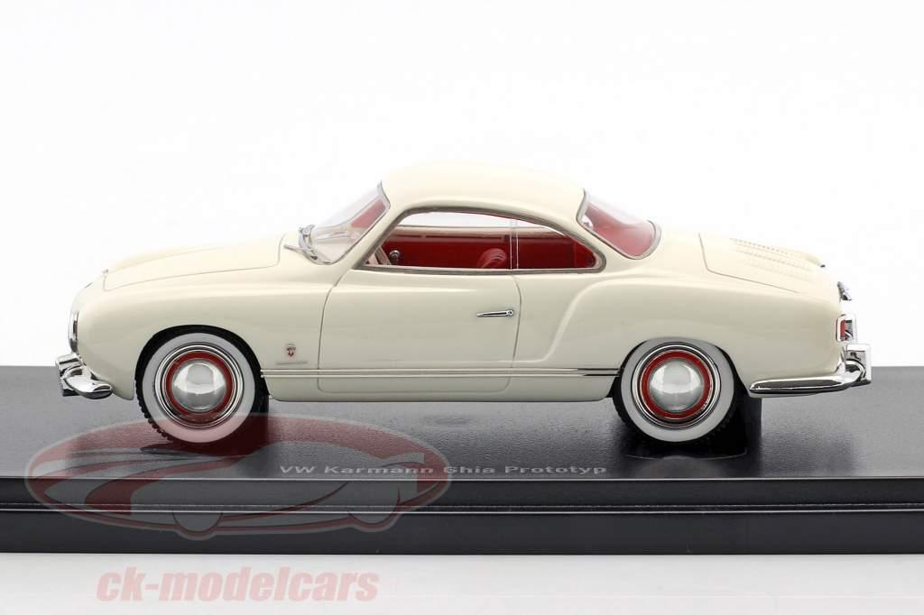 Volkswagen VW Karmann Ghia prototipo año de construcción 1954 blanco 1:43 AutoCult