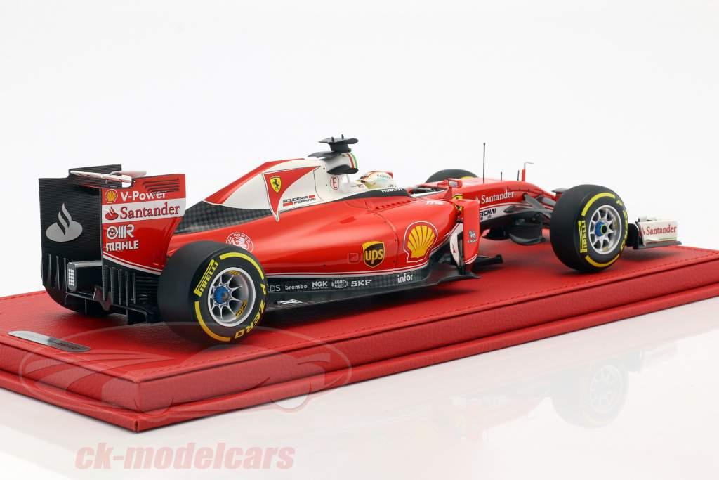 S. Vettel Ferrari SF16-H #5 3. Australien GP F1 2016 med udstillingsvindue og Læder Box 1:18 BBR