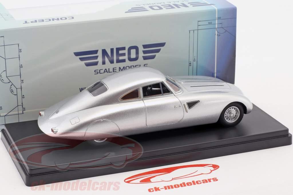 Maybach SW38 gestroomlijnde auto Bouwjaar 1939 zilver 1:43 Neo