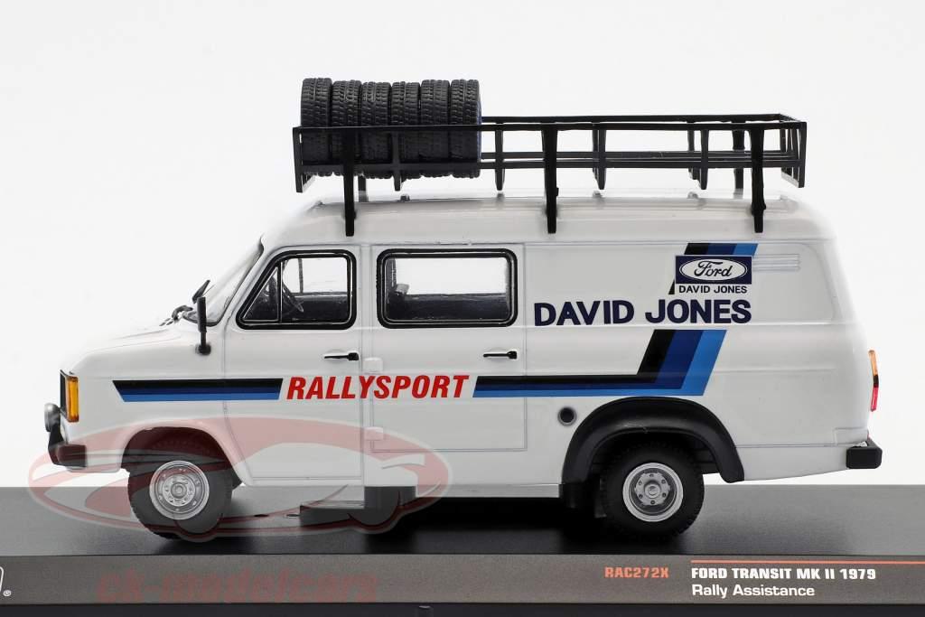 Ford Transit MKII año de construcción 1979 Rallye Assistance David Jones blanco 1:43 Ixo