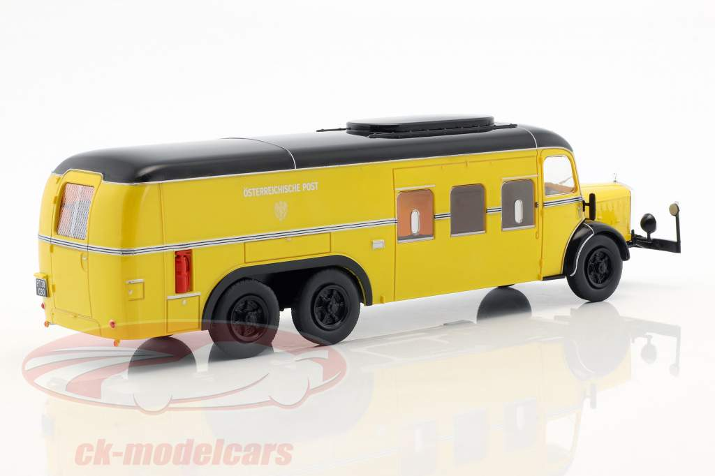 Mercedes-Benz O10000 bus post Office Austria year 1938 yellow 1:43 Altaya