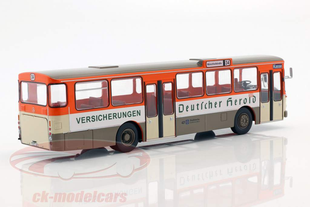 Mercedes-Benz O305 bus Deutscher Herold Opførselsår 1979 appelsin / hvid / beige 1:43 Altaya