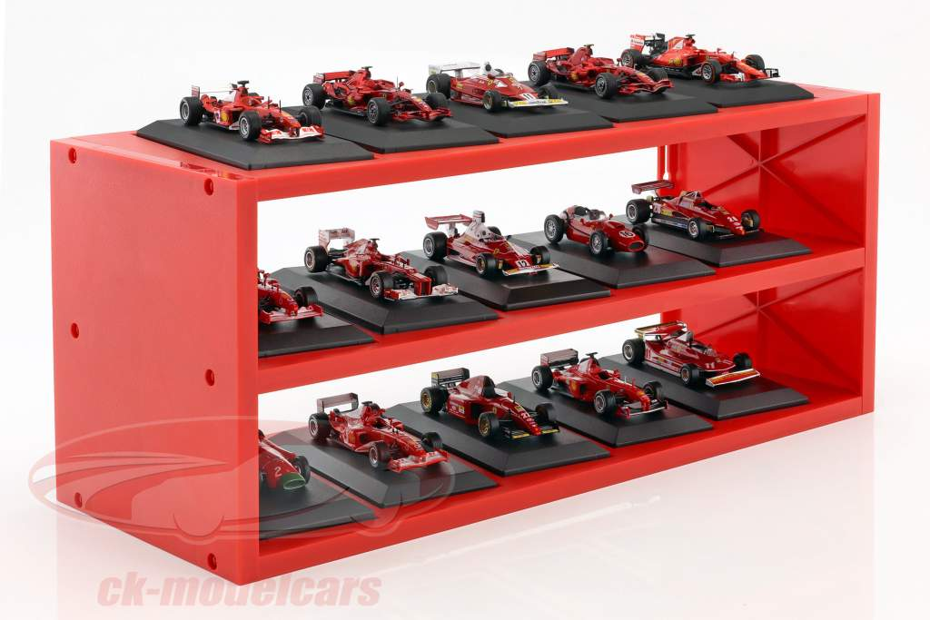 Plastic Showcase for up to 15 Ferrari F1 models in scale 1:43 red Atlas