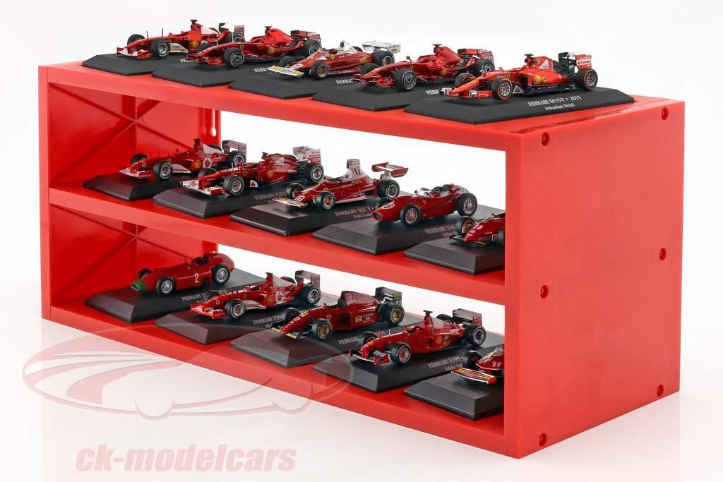 plástico escaparate para hasta para 15 Ferrari F1 modelos en escala 1:43 rojo Atlas
