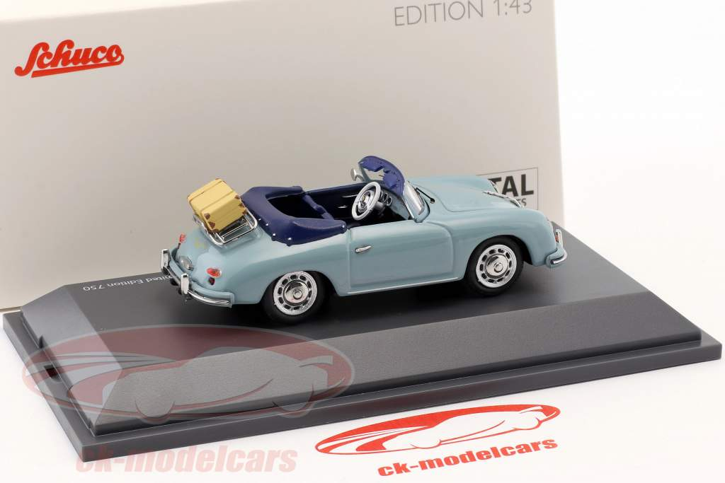 Porsche 356 A cabriolé tempo de viagem azul 1:43 Schuco