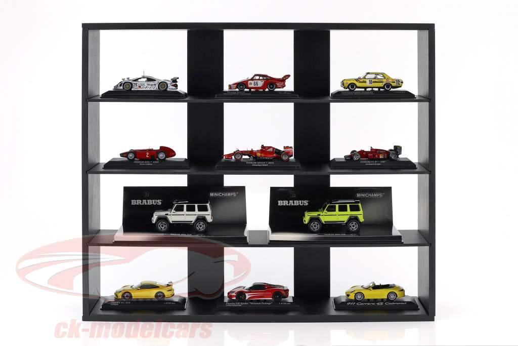 hoog kwaliteit houten plank voor model auto's en miniaturen donker bruin 60 x 50 x 14,5 cm Atlas
