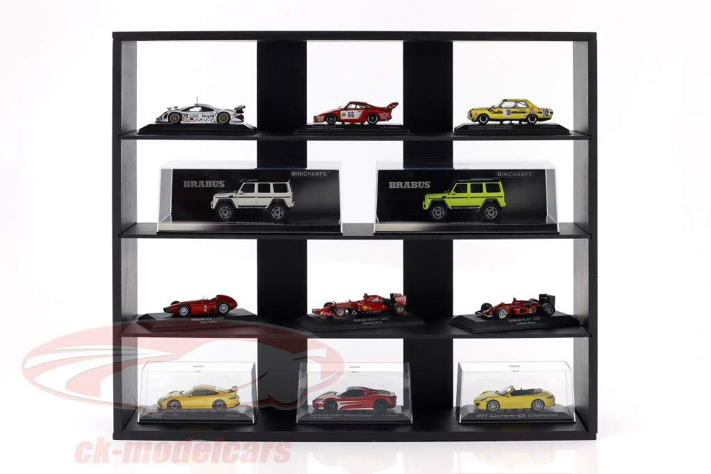High quality wooden shelf for model cars and miniatures dark brown 60 x 50 x 14,5 cm Atlas