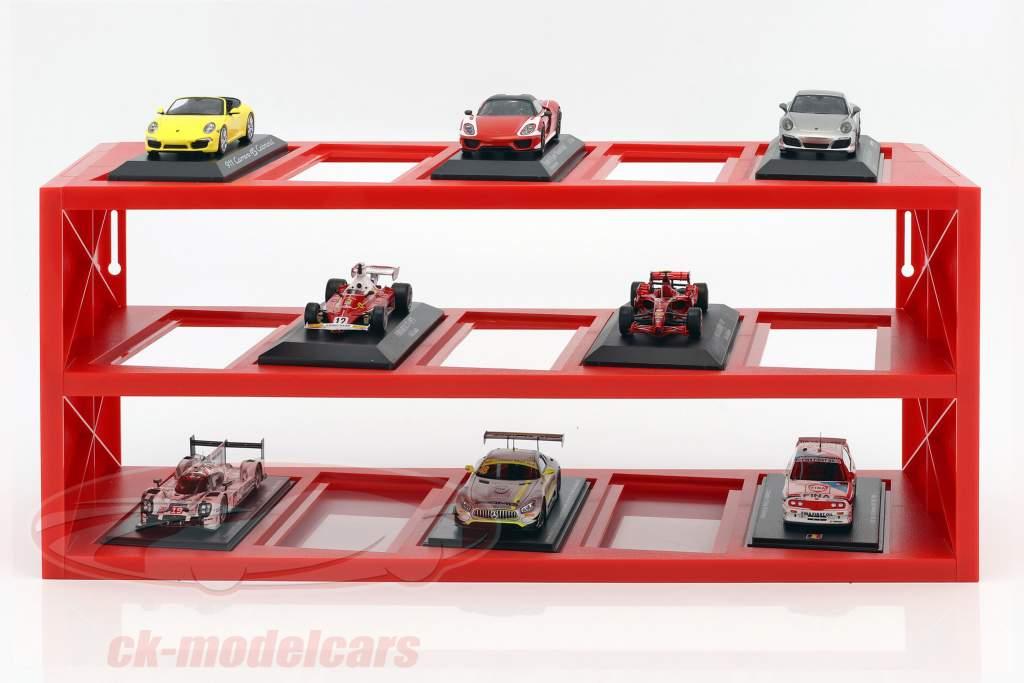plast udstillingsvindue til op til 15 Ferrari F1 modeller i skala 1:43 rød Atlas