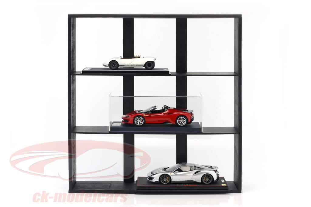 alto qualità di legno mensola per modello automobili e miniature scuro marrone 60 x 64 x 15 cm Atlas
