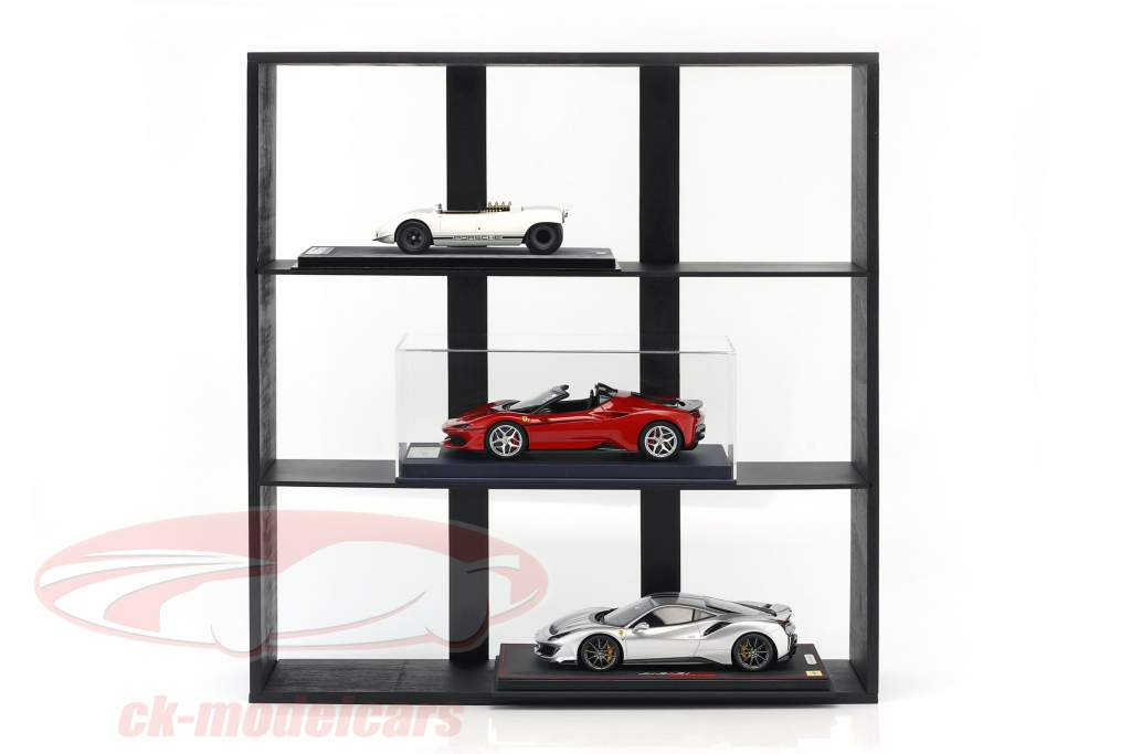 høj kvalitet træ hylde til model biler og miniaturer mørk brun 60 x 64 x 15 cm Atlas
