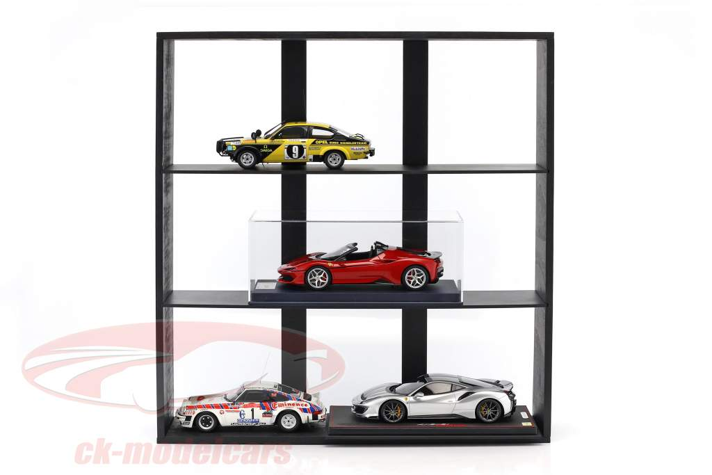 High quality wooden shelf for model cars and miniatures dark brown 60 x 64 x 15 cm Atlas