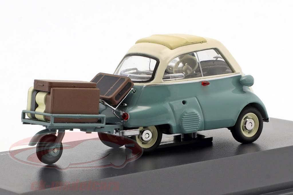 BMW Isetta con trailer e bagaglio Auto Porter turchese / beige 1:43 Schuco
