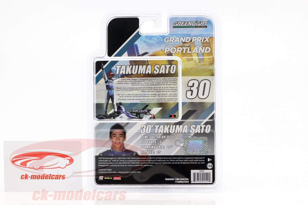 Takuma Sato Honda #30 Vinder Portland GP Indycar Series 2018 1:64 Greenlight