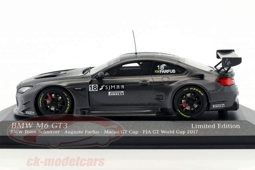 BMW M6 GT3 #18 cuarto FIA GT World Cup Macau 2017 Augusto Farfus 1:43 Minichamps