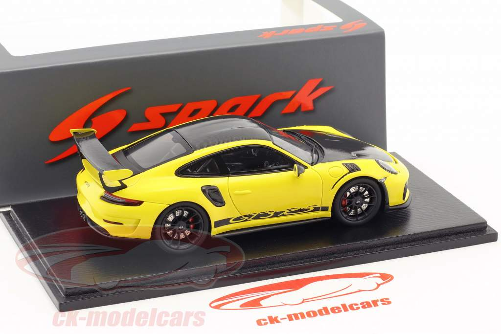 Porsche 911 (991 II) GT3 RS Weissach Package 2018 gul / sort 1:43 Spark