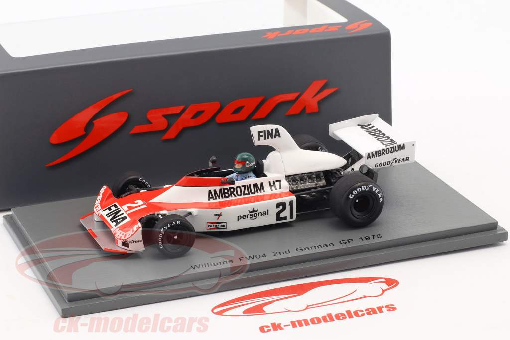 Jacques Laffite Williams FW04 #21 2e Duits GP formule 1 1975 1:43 Spark