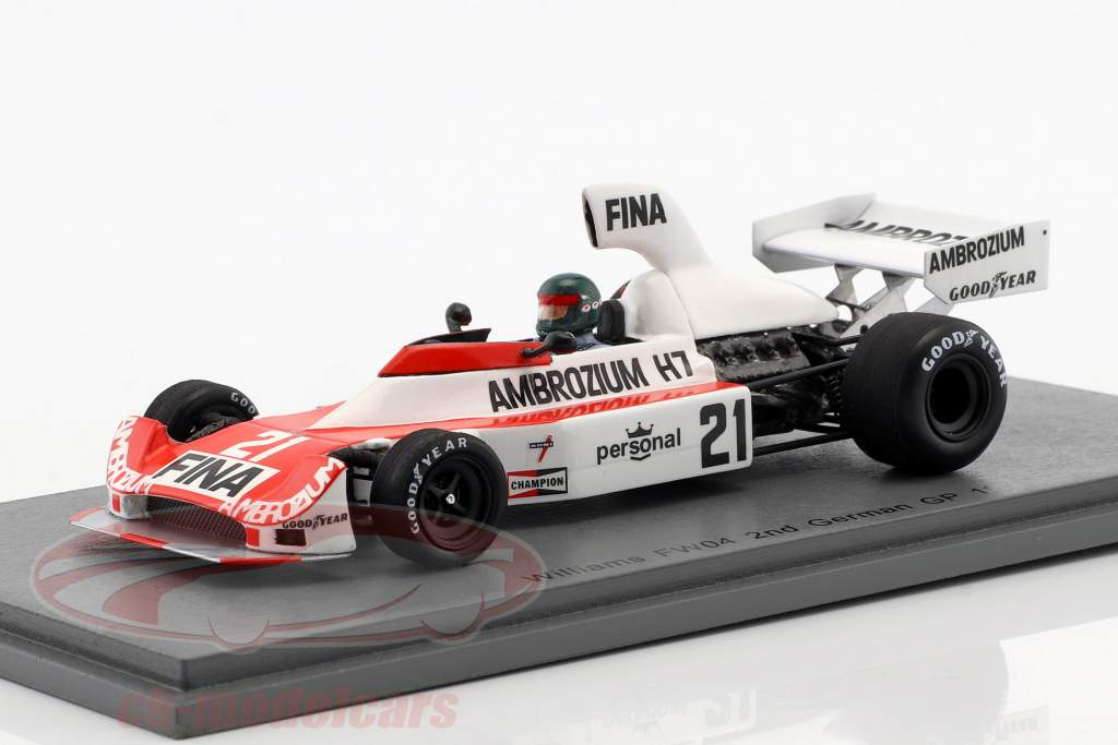 Jacques Laffite Williams FW04 #21 segundo alemán GP fórmula 1 1975 1:43 Spark