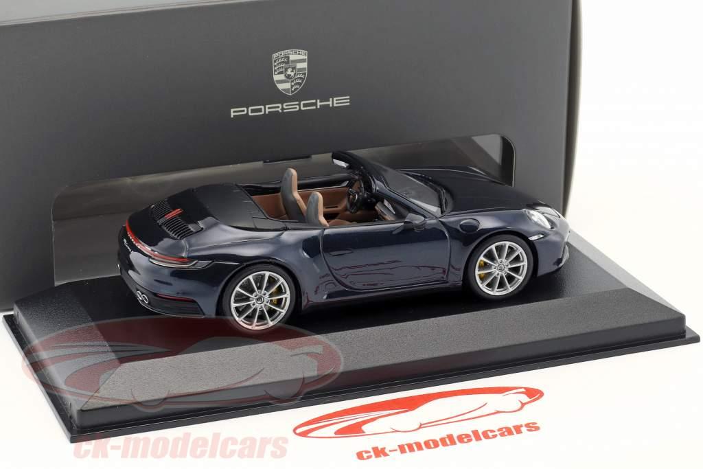 Porsche 911 (992) Carrera 2S Cabriolet Opførselsår 2019 nat blå metallisk 1:43 Minichamps