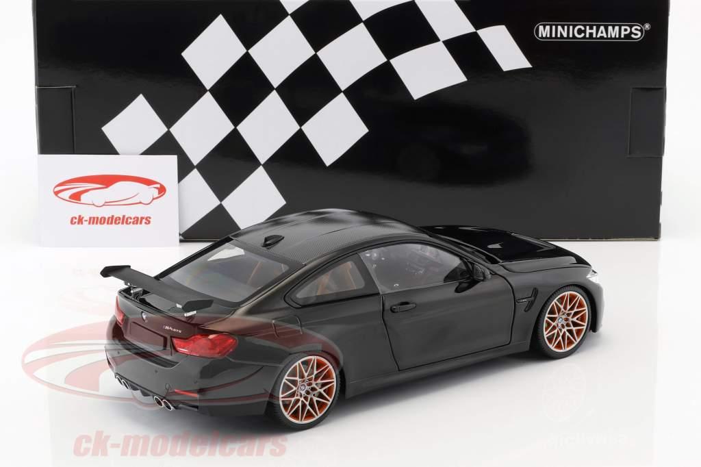 BMW M4 GTS ano de construção 2016 preto metálico 1:18 Minichamps