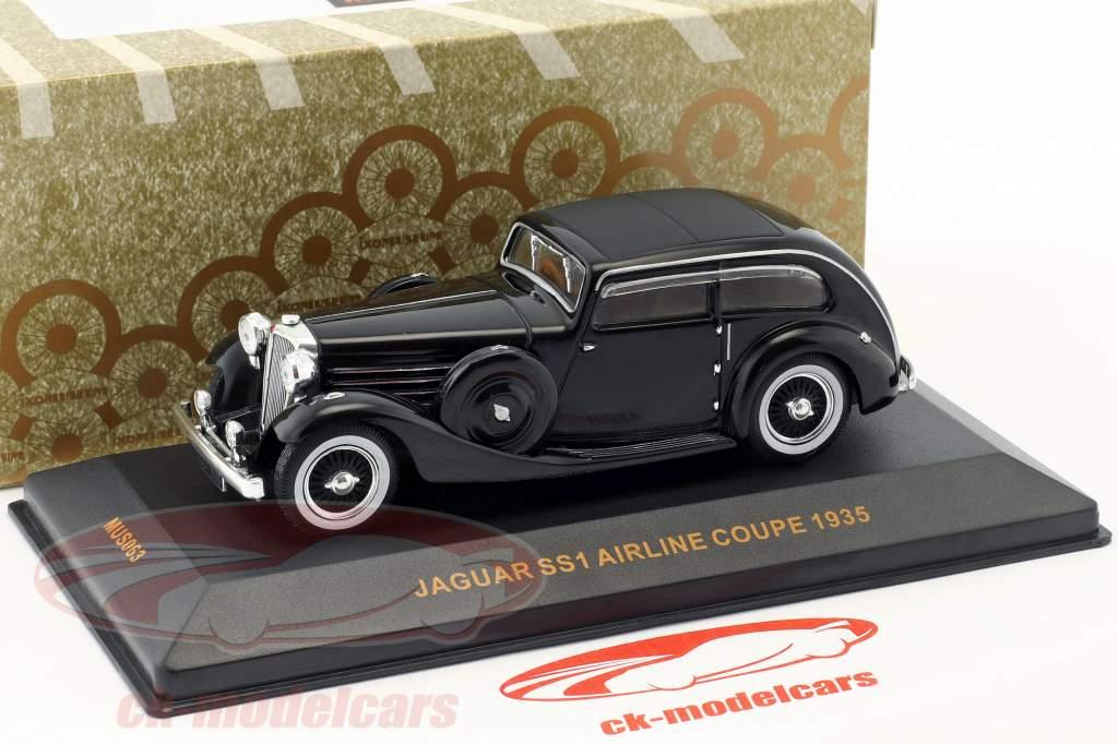 Jaguar SS Airline Coupe Bouwjaar 1935 zwart 1:43 Ixo