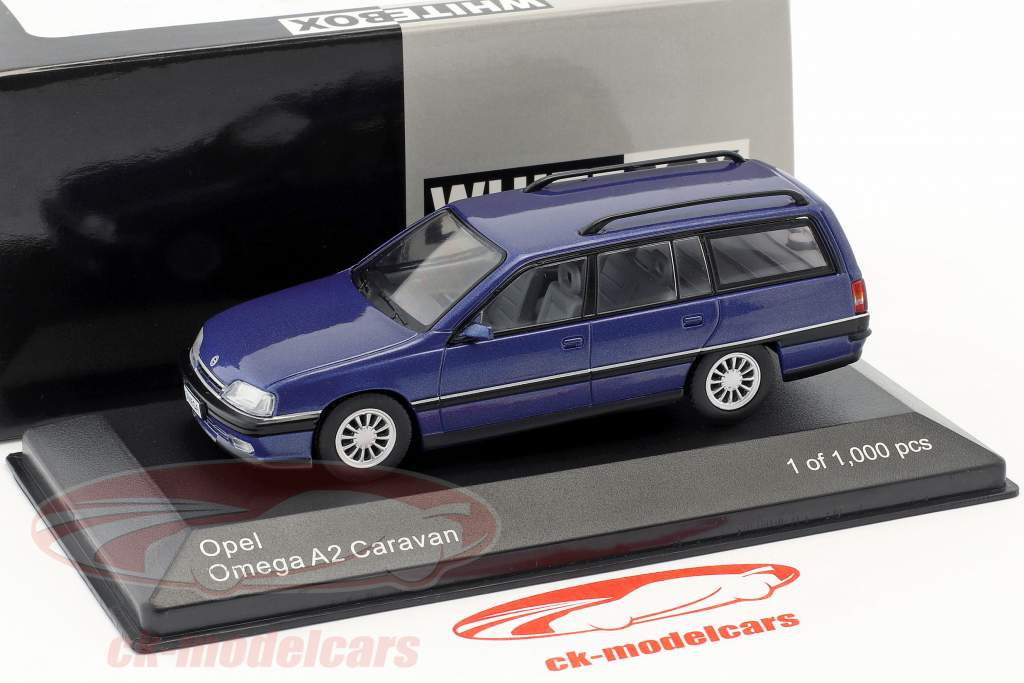 Opel Omega A2 Caravan year 1990-1993 blue metallic 1:43 WhiteBox
