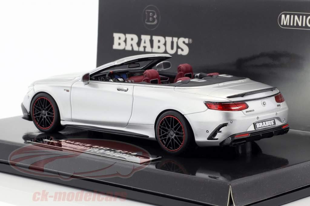 Brabus 850 baserede på Mercedes-Benz AMG S63 Cabriolet Opførselsår 2016 sølv 1:43 Minichamps