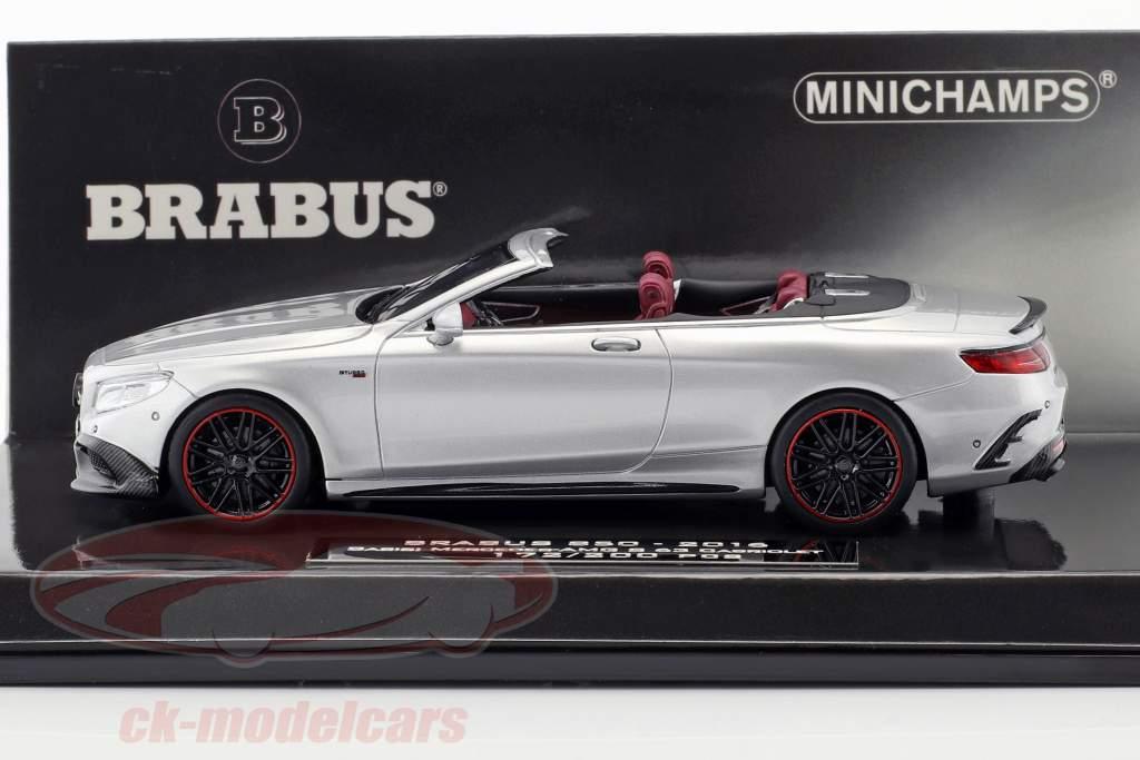 Brabus 850 basato su Mercedes-Benz AMG S63 cabriolet anno di costruzione 2016 argento 1:43 Minichamps