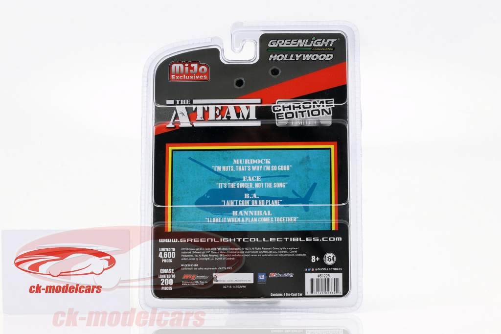 B.A.'s GMC Vandura 1983 TV-serie den A-Team (1983-87) krom strimler 1:64 Greenlight
