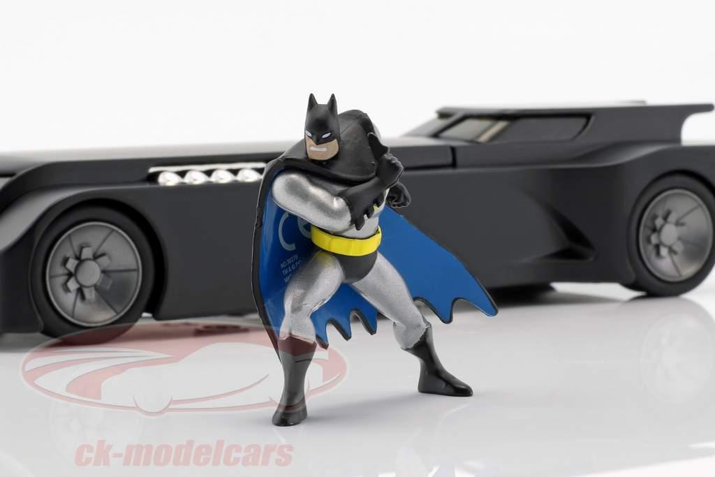 Animated Batmobile com ordenança figura preto mate 1:24 Jada Toys