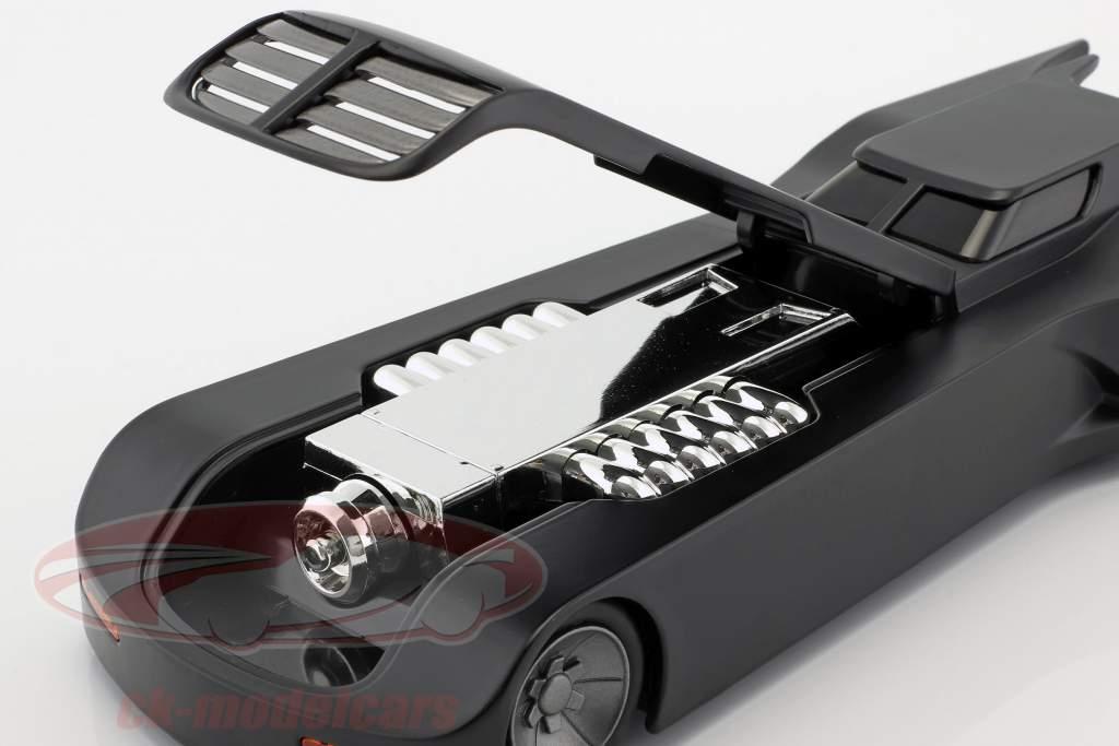 Animated Batmobile med Batman figur mat sort 1:24 Jada Toys